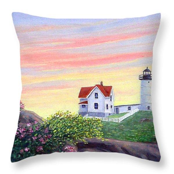Cape Neddick Sunrise Throw Pillow by Fran Brooks