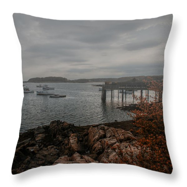 Cape Porpoise Maine - Fog Rolls In Throw Pillow by Bob Orsillo