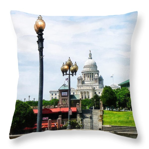 Capitol Building Seen From Waterplace Park Throw Pillow by Susan Savad