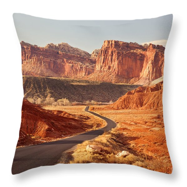 Capitol Reef National Park Landscape Throw Pillow by Carolyn Rauh