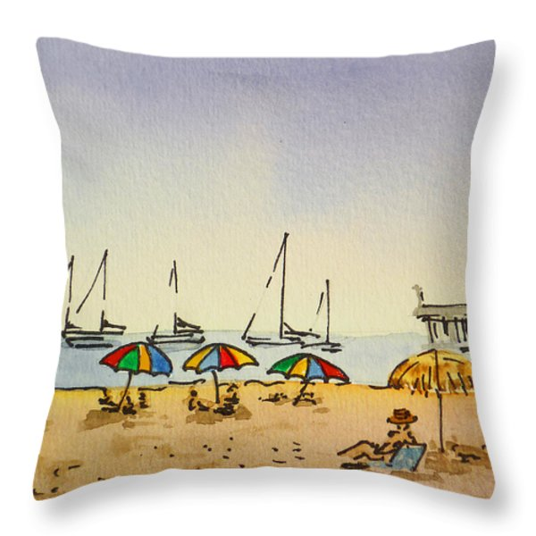 Capitola - California Sketchbook Project  Throw Pillow by Irina Sztukowski