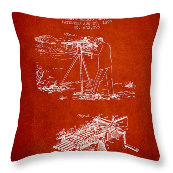 Capps Machine Gun Patent Drawing From 1899 - Red Throw Pillow by Aged Pixel