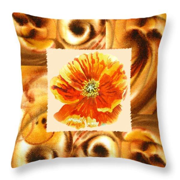 Cappuccino Abstract Collage Poppy Throw Pillow by Irina Sztukowski