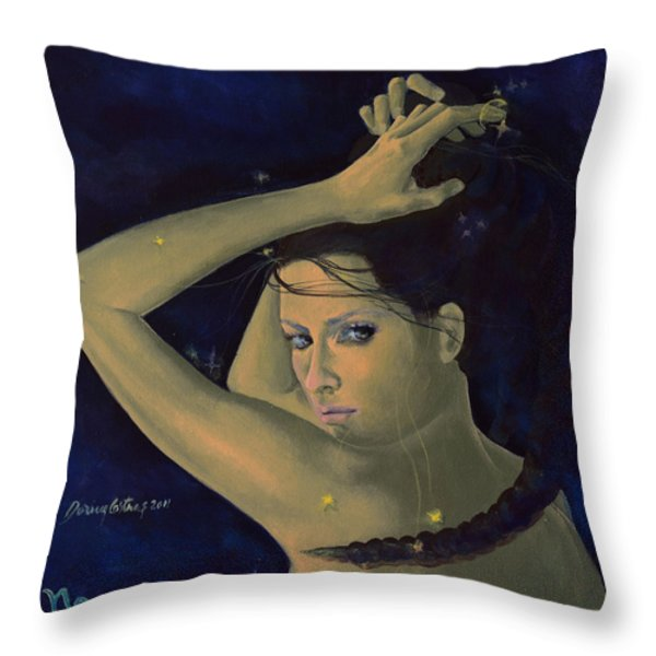 Capricorn from Zodiac series Throw Pillow by Dorina  Costras