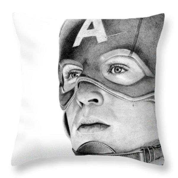 Captain America Throw Pillow by Kayleigh Semeniuk