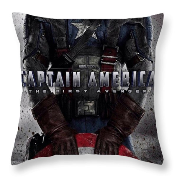 Captain America The First Avenger  Throw Pillow by Movie Poster Prints