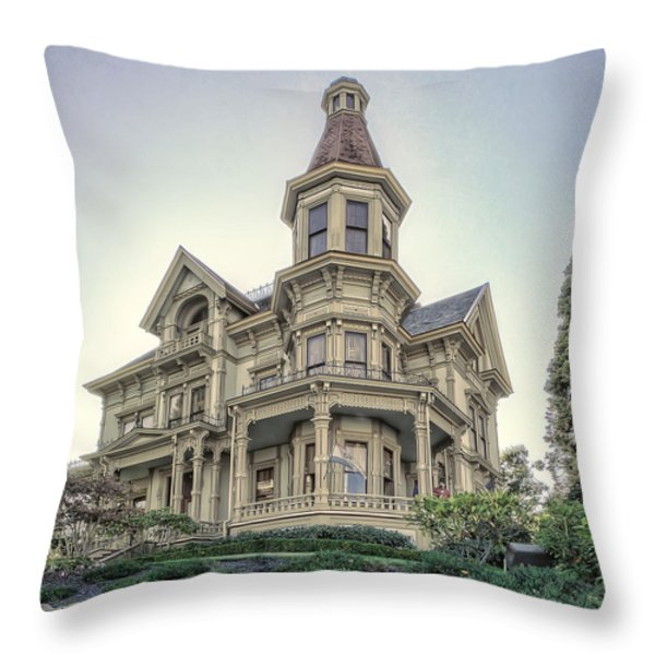 Captain George Flavel Victorian House - ASTORIA OREGON Throw Pillow by Daniel Hagerman
