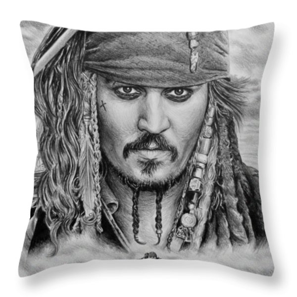 Captain Jack Sparrow Throw Pillow by Andrew Read