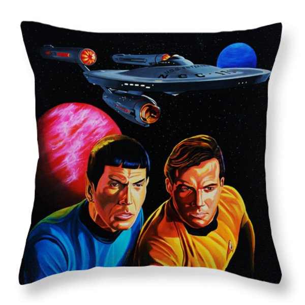Captain Kirk And Mr. Spock Throw Pillow by Robert Steen