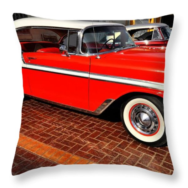 Car - Bel Air - Red Throw Pillow by Liane Wright