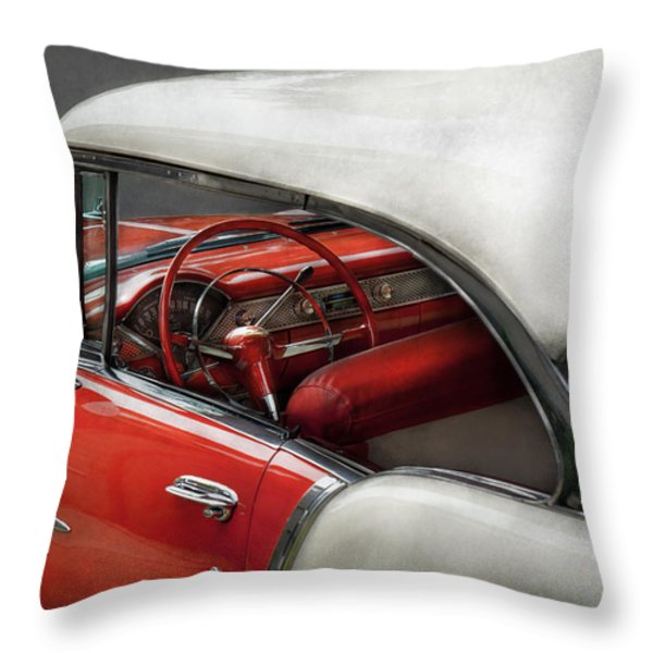 Car - Classic 50's  Throw Pillow by Mike Savad
