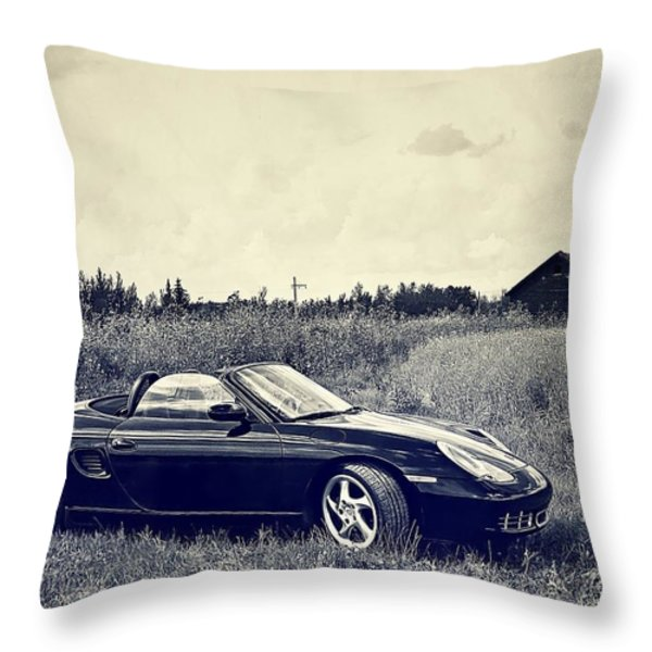 The 2002 Porsche Boxster S Car Throw Pillow by Carol  Lux Photography