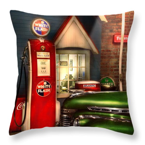 Car - Station - White Flash Gasoline Throw Pillow by Mike Savad