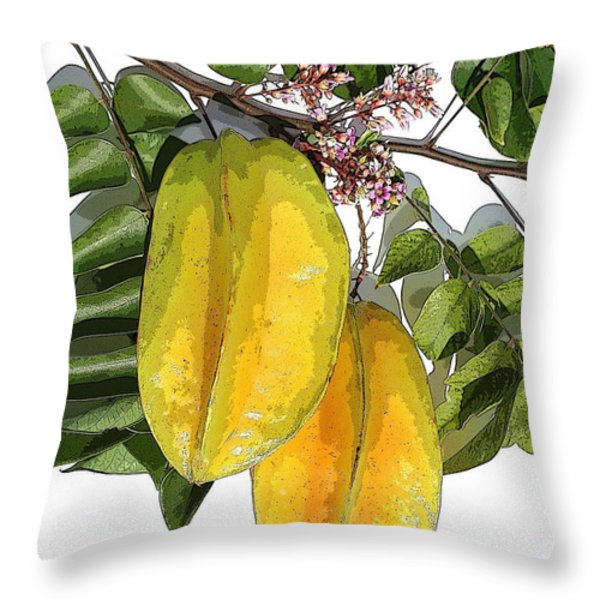 Carambolas Starfruit Two Up Throw Pillow by Olivia Novak