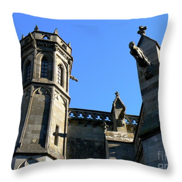 Carcassonne's Cathedral Throw Pillow by FRANCE  ART