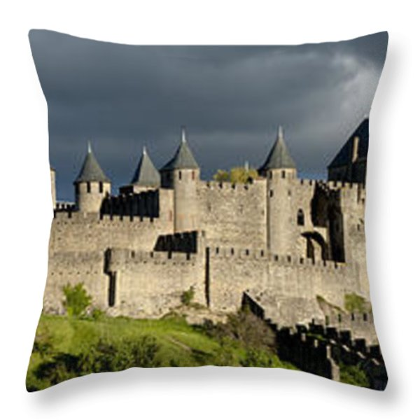 Carcassonne Panorama Throw Pillow by Robert Lacy