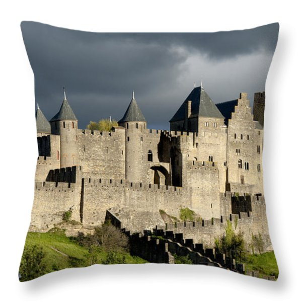 Carcassonne Stormy Skies Throw Pillow by Robert Lacy