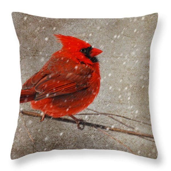 Cardinal In Snow Throw Pillow by Lois Bryan