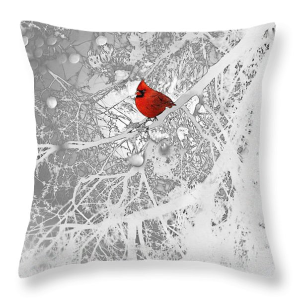 Cardinal In Winter Throw Pillow by Ellen Henneke