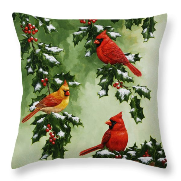Cardinals And Holly - Version With Snow Throw Pillow by Crista Forest