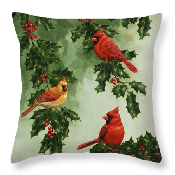 Cardinals And Holly - Version Without Snow Throw Pillow by Crista Forest