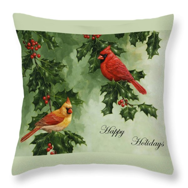 Cardinals Holiday Card - Version Without Snow Throw Pillow by Crista Forest