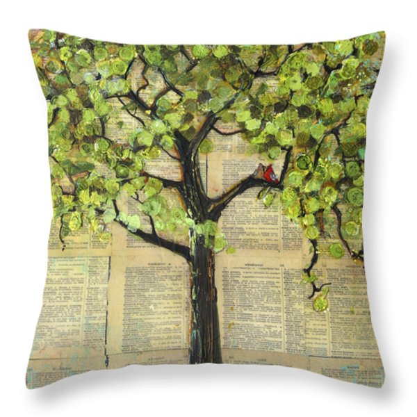 Cardinals in a Tree Throw Pillow by Blenda Studio