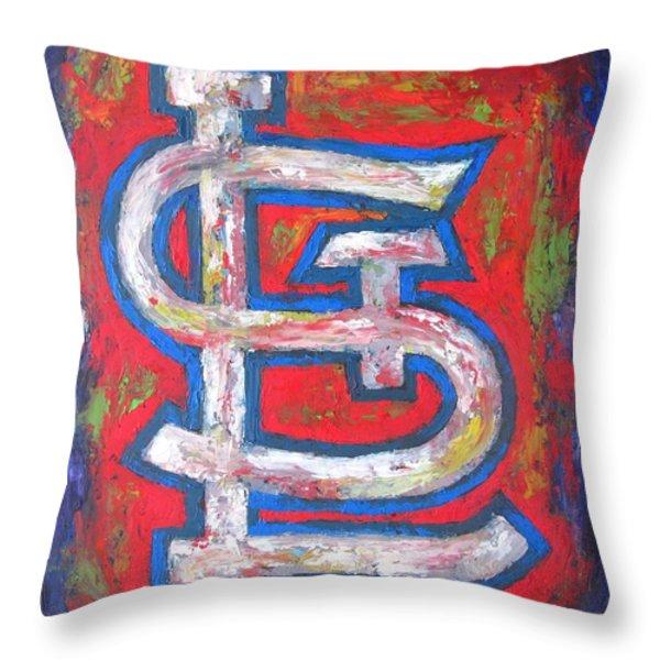 St Louis CARDINALS Baseball Throw Pillow by Dan Haraga