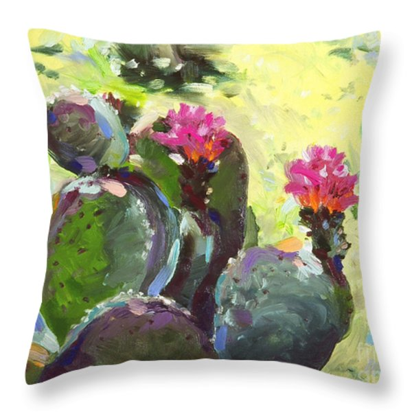 Carefree Cactus Throw Pillow by Renee Womack
