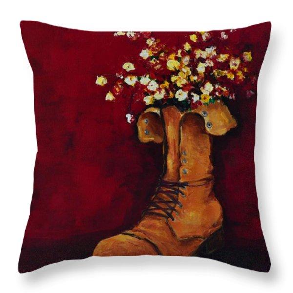 Cargo Boot Series Unusual Flower Pot Throw Pillow by Patricia Awapara