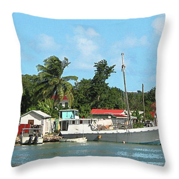 Caribbean - Docked Boats At Antigua Throw Pillow by Susan Savad