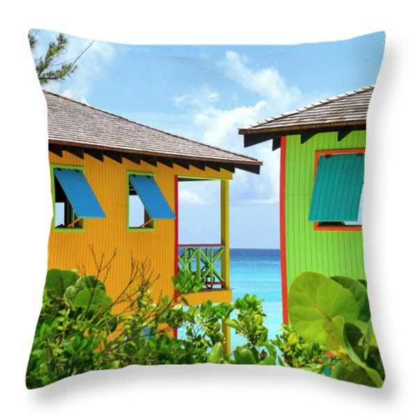 Caribbean Village Throw Pillow by Randall Weidner
