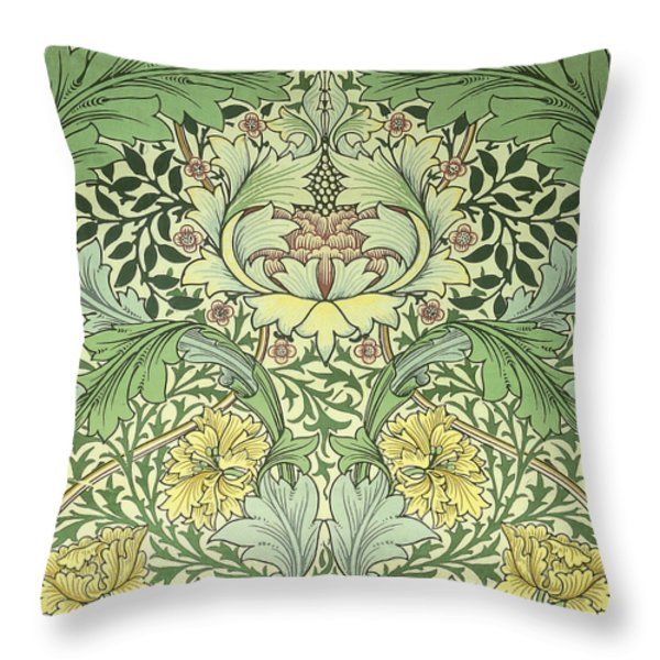 Carnations Design Throw Pillow by William Morris