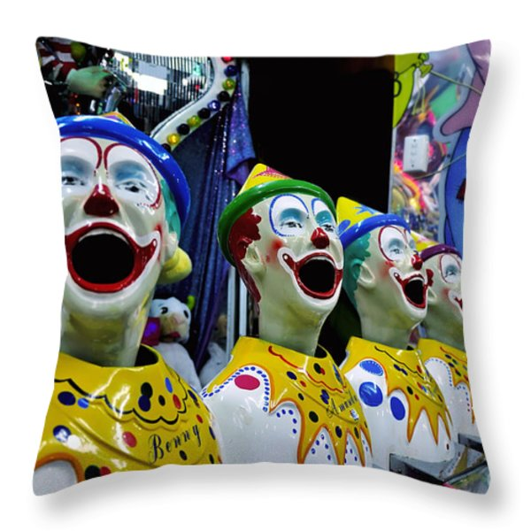 Carnival Clowns Throw Pillow by Kaye Menner