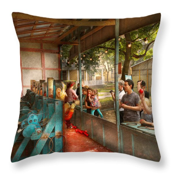 Carnival - Game - A game of skill  Throw Pillow by Mike Savad