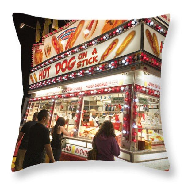 Carnival Hot Dog On A Stick Throw Pillow by Jason O Watson