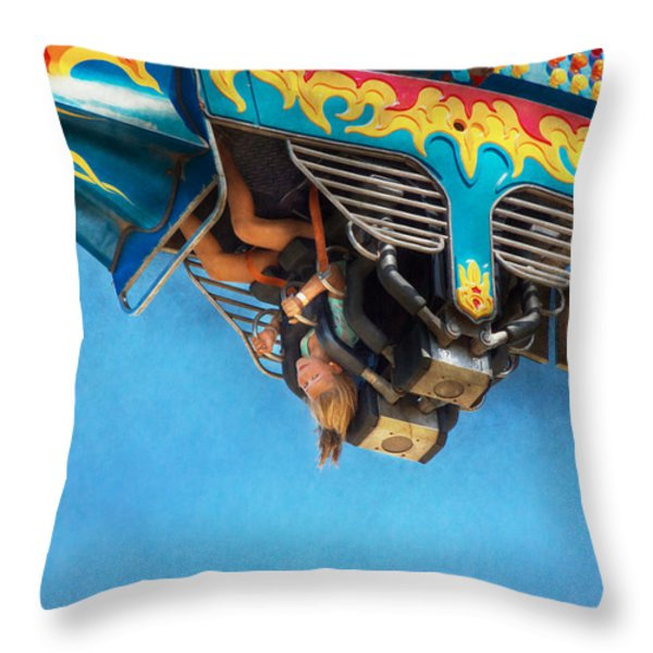 Carnival - Ride - The Thrill Of The Carnival  Throw Pillow by Mike Savad