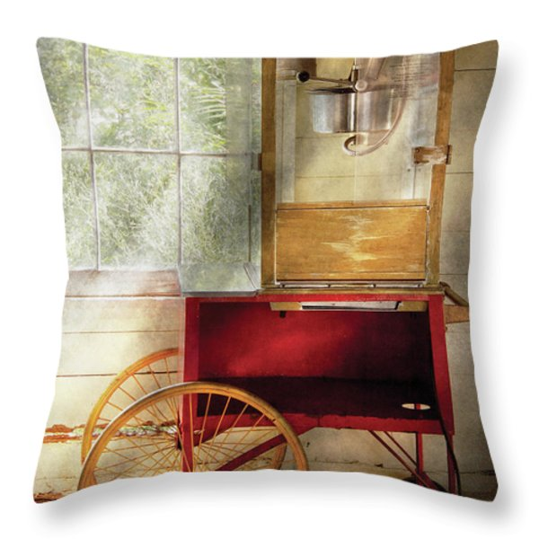 Carnival - The popcorn cart Throw Pillow by Mike Savad