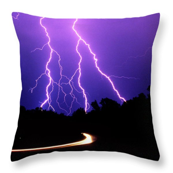 Carolina Electrical Storm Throw Pillow by Mike McGlothlen