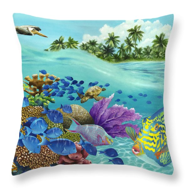 Coral Carnival Throw Pillow by Carolyn Steele
