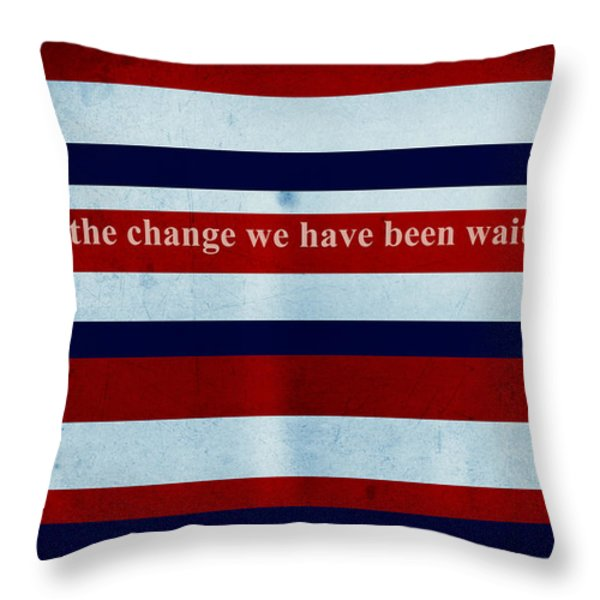 Carpe Diem Series - Barack Obama Throw Pillow by Andrea Anderegg