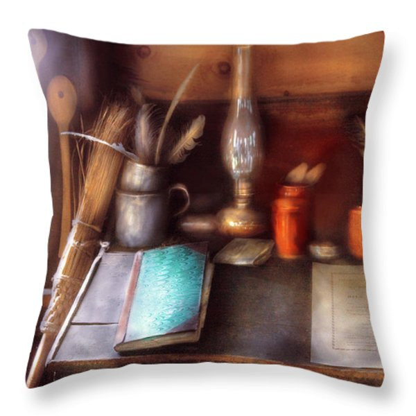 Carpenter - In a carpenter's workshop  Throw Pillow by Mike Savad