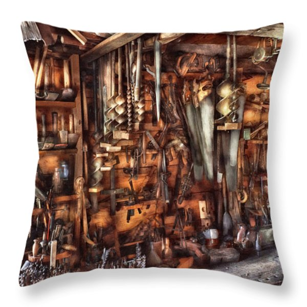 Carpenter - That's A Lot Of Tools  Throw Pillow by Mike Savad
