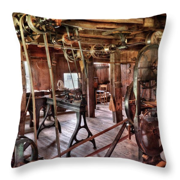Carpenter - This Old Shop Throw Pillow by Mike Savad