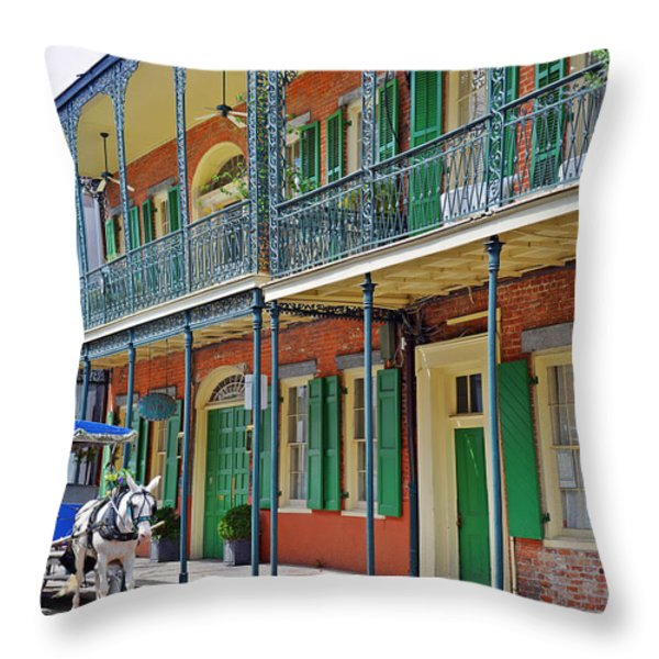 Carriage Ride New Orleans Throw Pillow by Christine Till