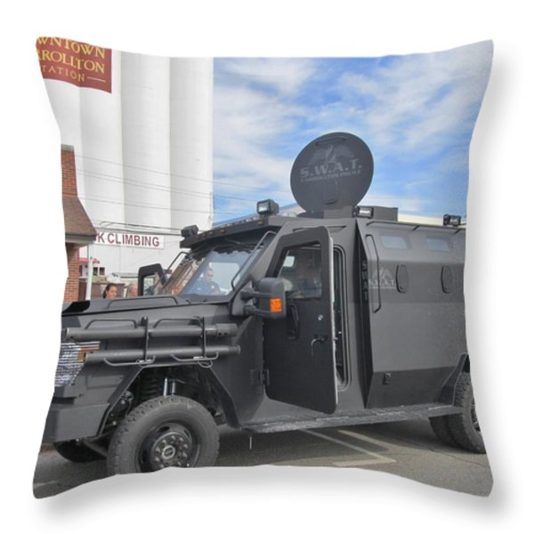 CARROLLTON TEXAS POLICE VEHICLE Throw Pillow by Donna Wilson