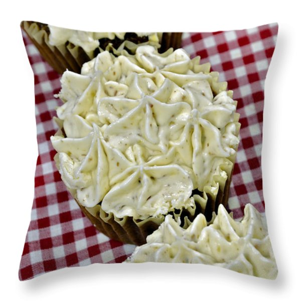 Carrot Cupcakes Throw Pillow by Susan Leggett
