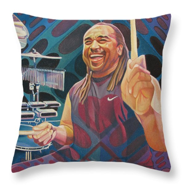 Carter Beauford Pop-op Series Throw Pillow by Joshua Morton