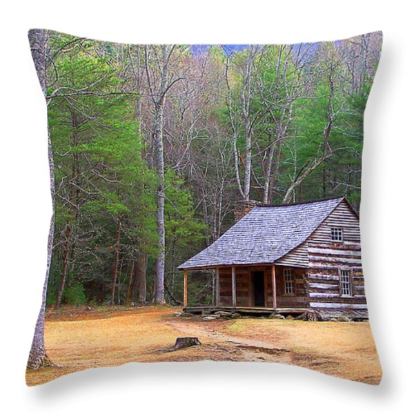 Carter Shield's Cabin II Throw Pillow by Jim Finch
