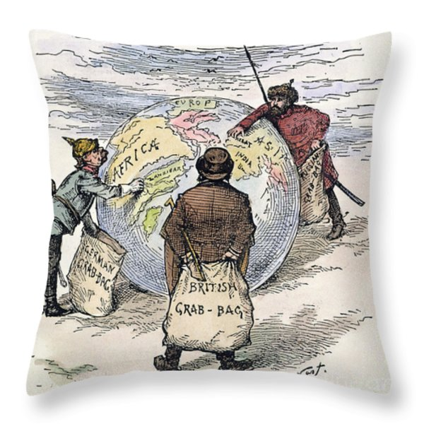 Cartoon - Imperialism 1885 Throw Pillow by Granger